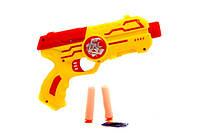 Пистолет водяные пули, мягкие пули-присоски 2шт, 3цвета, в кульке, 21-12-4,5см