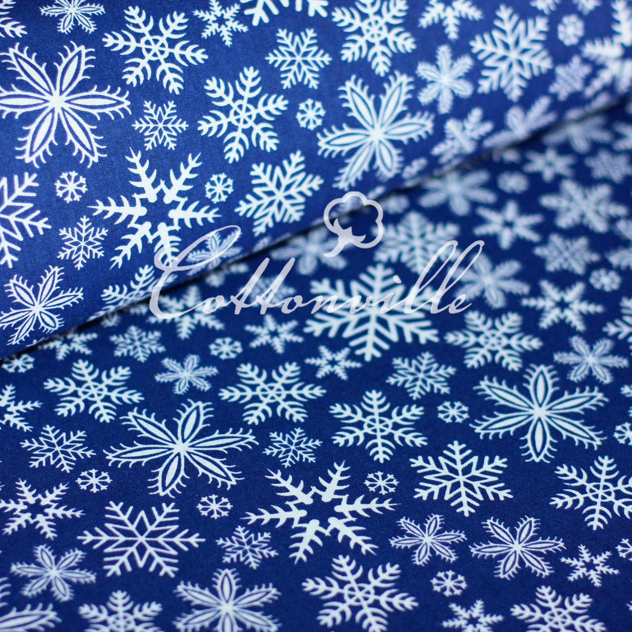 ✁ Отрезы ткани  Снежинки синяя