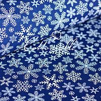 Польская бязь Снежинки синяя, фото 1