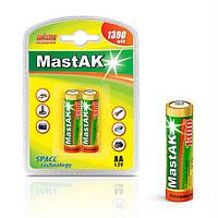 Аккумулятор пальчиковый Mastak AA 1,2v 1300mAh ( Ni-Mh ) (упаковка-2шт.)