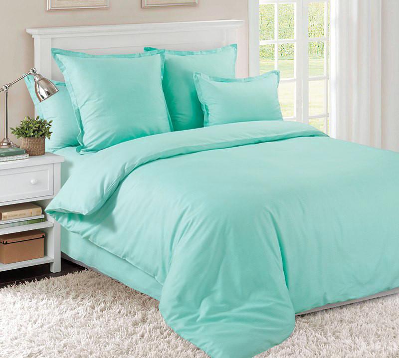 Комплект постельного белья семейный, сатин Ментол