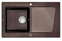 Мойка гранитная прямоугольная 86*52 см глубина 20 см Deante серии Modern коричневый металлик артикул ZQM B113
