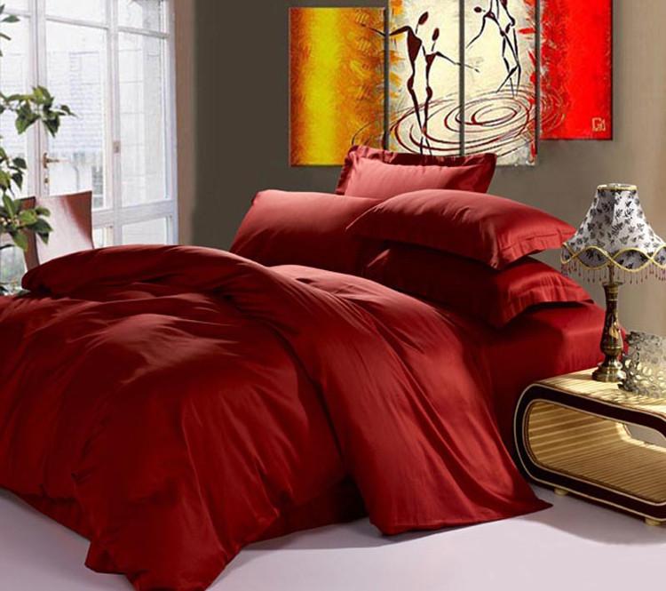 Комплект постельного белья евро, сатин Wine Red