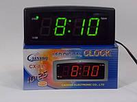 Часы  электронные СХ 819 - 2 (зеленая подсветка) с будильником и термометром     .dr