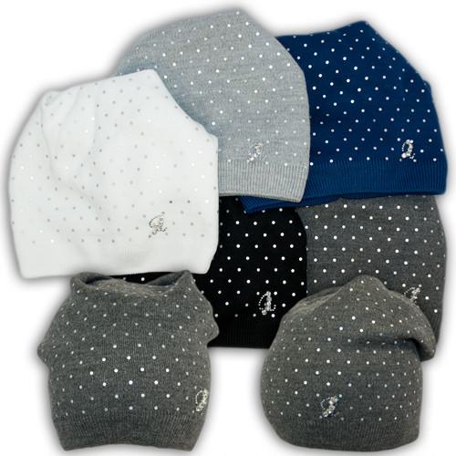 Вязаная шапка с подкладкой флис для девочки, L23,  Ambra (Польша)