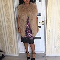 """Меховой жилет из ламы в наличии """"Alyssa"""" длина 80 см."""