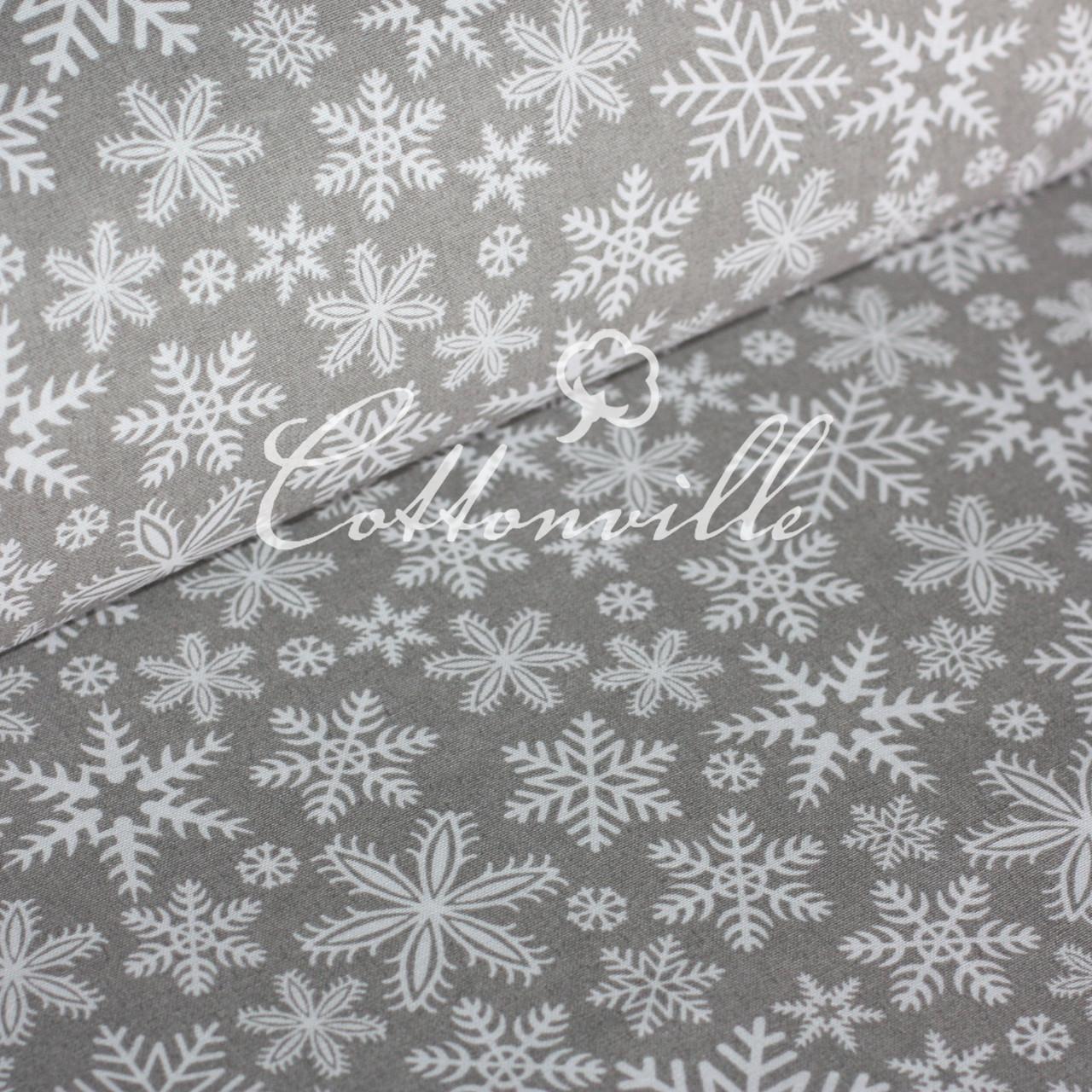 ✁ Отрезы ткани Снежинки серая