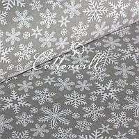 ✁ Отрезы ткани Снежинки серая , фото 1