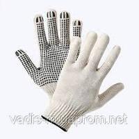 Перчатки трикотажные с точечным ПВХ- покрытием.