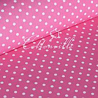 ✁ Отрезы ткани Горошки 7 мм на малиновом, фото 1
