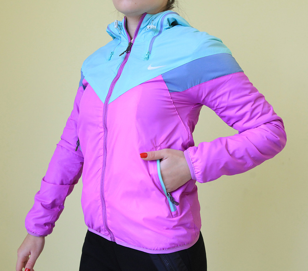 962d130e Женская демисезонная ветровка Nike 6612 сиренево-бирюзовая код 878А -  СПОРТ-СИТИ в Северодонецке
