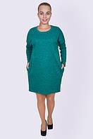 Женское зеленое платье, батал, 52-58 р-ры, 350/310 (цена за 1 шт. + 40 гр.)
