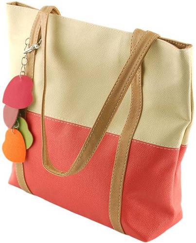 Красивая женская сумка из искусственной кожи Traum 7240-20, бежевый с красным