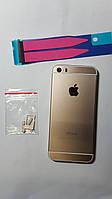 Крышка  задняя Apple iPhone 5S (под iPhone 6) золотая с тонкой рамкой.