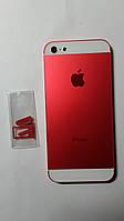 Крышка  задняя Apple iPhone 5 красная с белыми вставками copy.
