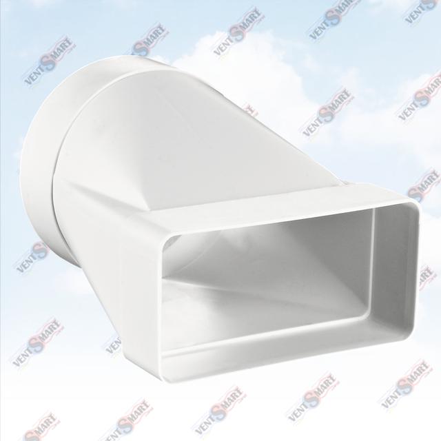 Внешний вид переходника с плоских каналов на круглые каналы ПВХ системы воздуховодов ПЛАСТИВЕНТ производства ВЕНТС (Украина). Переходник (соединитель) с круглого сечения воздуховода на прямоугольное системы Пластивент изготовлены из пластика высокого качества, который не поддерживает горение, имеют гладкую внутреннюю поверхность, широкий диапазон температур эксплуатации ― от -30 до +70 градусов Цельсия.