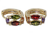 Серьги-с разноцветными камнями