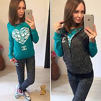 Женский теплый спортивный костюм тройка