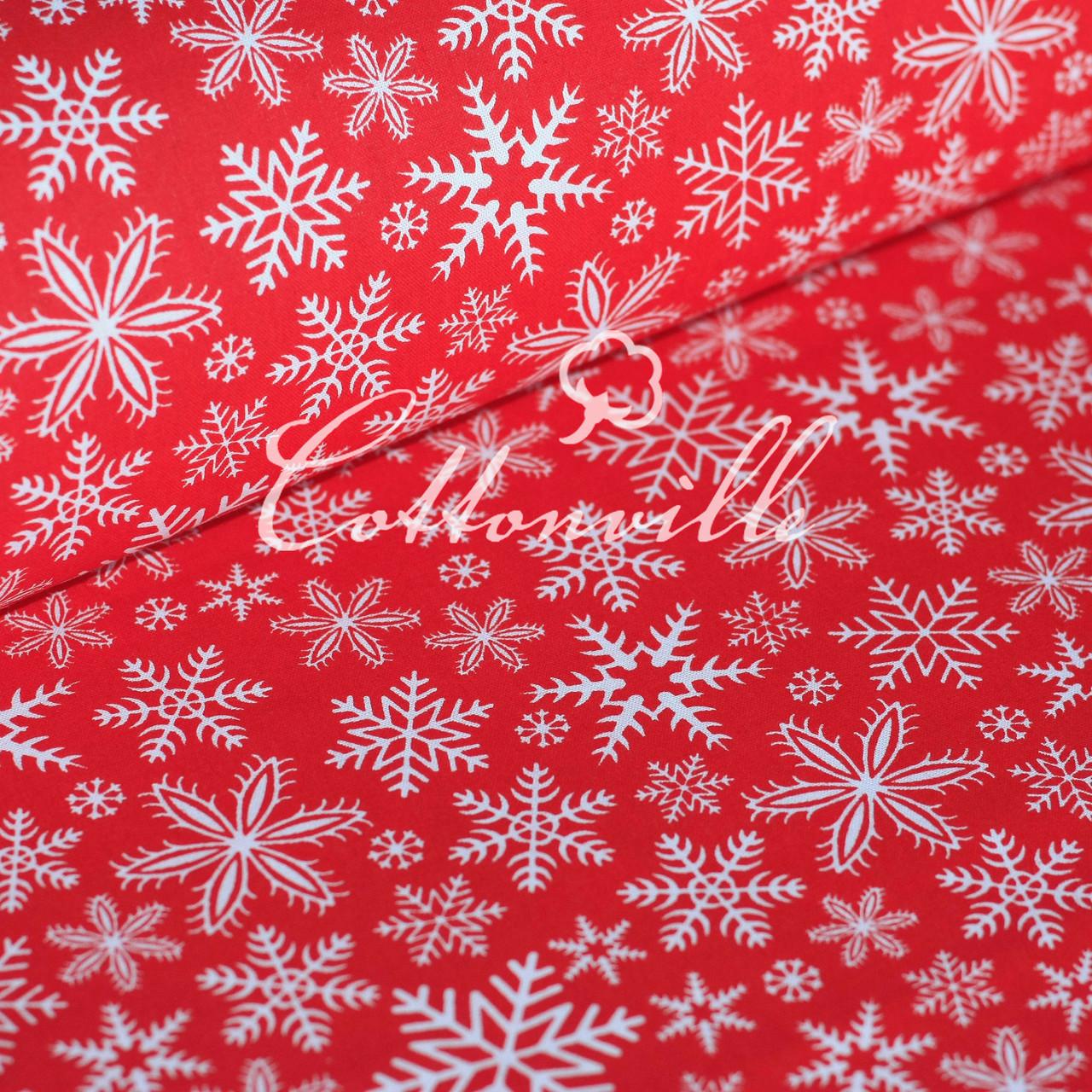 Польская бязь Снежинки красная
