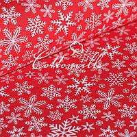 Польская бязь Снежинки красная, фото 1