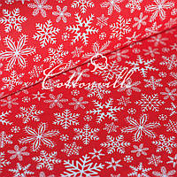 ✁ Отрезы ткани Снежинки красная