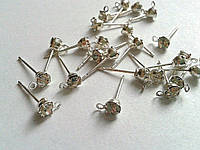 Сережки гвоздики со стразами 3 мм. Серебро