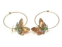 Золотые серьги кольца с бабочками диаметр 40мм