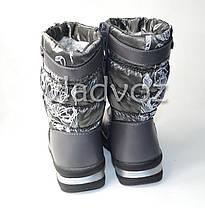 Детские зимние дутики на зиму для девочки сапоги серые 28р., фото 2