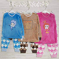 Теплые  детские пижамы Фиксики,Покемоны 1-3-5лет, 1123KAY из махры, в наличии 92,104,116 Рост