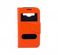 Чехол (книжка) с окошком для Samsung G360H/G361H Galaxy Core Prime Duos оранжевый