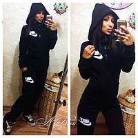 Женский спортивный костюм Nike ткань трехнитка на байке цвет черный, фото 1
