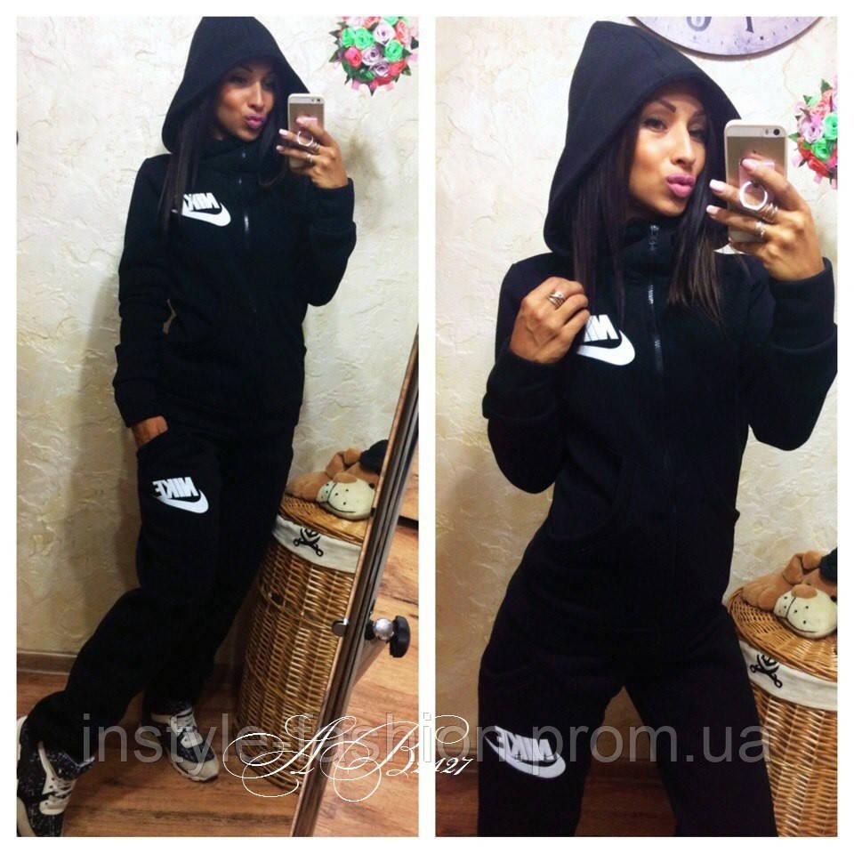 Женский спортивный костюм Nike ткань трехнитка на байке цвет черный