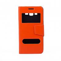 Чехол (книжка) с окошком для Samsung G530H/G531H Galaxy Grand Prime оранжевый