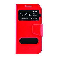 Чехол (книжка) с окошком для Samsung G900 Galaxy S5 красный