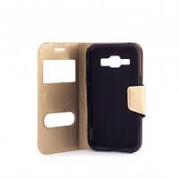 Чехол (книжка) с окошком для Samsung Galaxy J1 Duos SM-J100 золотой