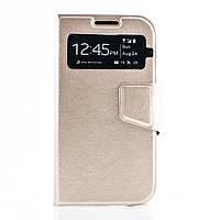 Чехол (книжка) с окошком для Samsung i9500 Galaxy S4 золотой