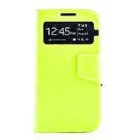 Чехол (книжка) с окошком для Samsung i9500 Galaxy S4 зеленый
