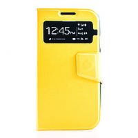 Чехол (книжка) с окошком для Samsung i9500 Galaxy S4 желтый