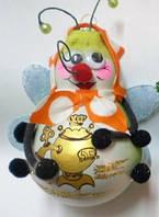 Формовая новогодняя стеклянная игрушка Пчелы на Празднике , фото 1