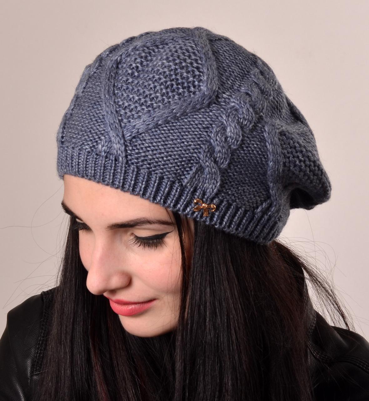 Вязаные женские береты оптом: купить шапки оптом, цена в ...