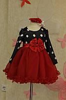 Оригинальное праздничное  платье на девочку в горох с пышной юбкой и бантом