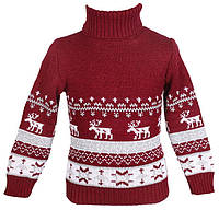 """Теплый вязанный свитер """"Олени"""" для девочки, цвет бордовый"""