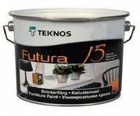 Эмаль уретан-алкидная TEKNOS  FUTURA 15 ударостойкая,быстросохнущая,полуматовая цвет белый 0,9л