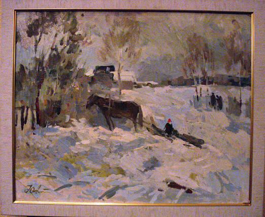 Картина Зимой  Александрочкин Ю.М. 1989 год, фото 2