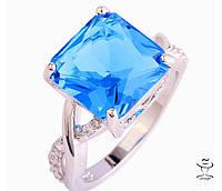 Женское модное Кольцо с шикарным голубым камнем Леди Диана