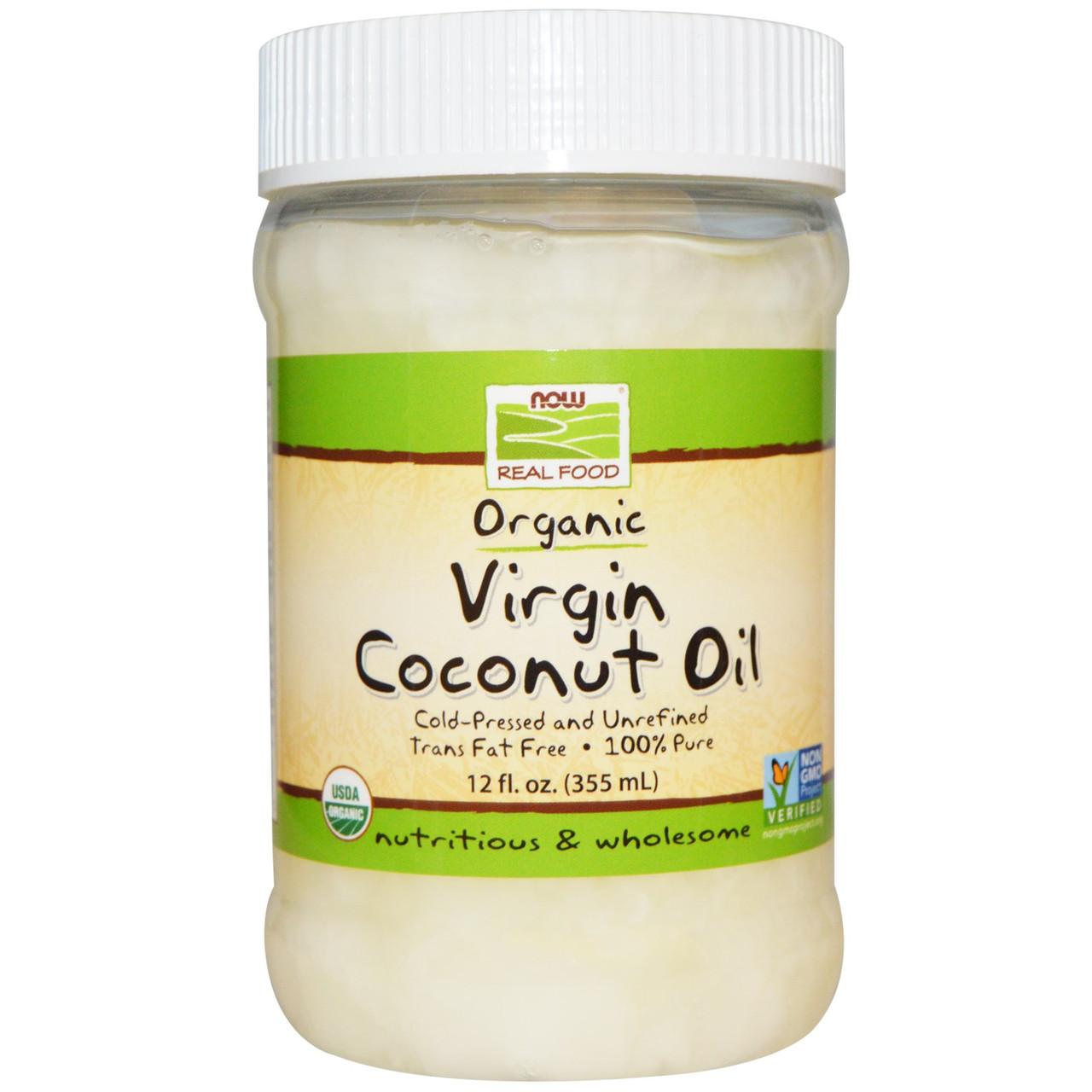 Органическое кокосовое масло первого отжима (съедобное), Now Foods, 355 мл