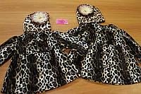 Стильное велюровое пальтишко на девочку с леопардовым принтом