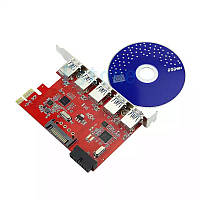 Pci-e  контроллер 5 портовый 5 Port USB3.0 HUB To PCI-E Express Card Adapter 20pin 15pin SATA for XP WIN 7 8