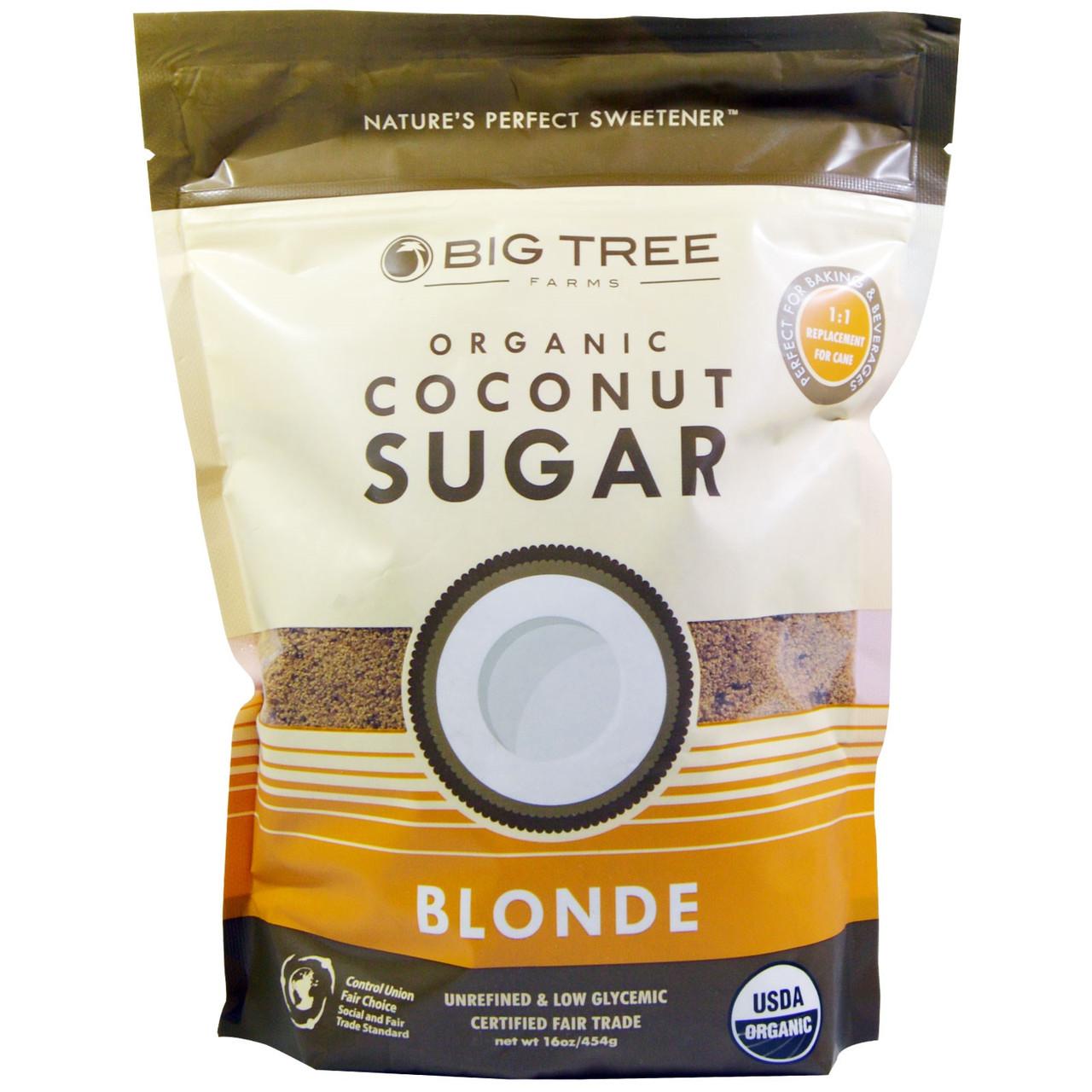 Органический кокосовый сахар, Big Tree Farms, 454 г, светлый