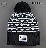 Шапка (зимняя, с помпоном) Staff - Art. KS0006-1 (графит \ белый)